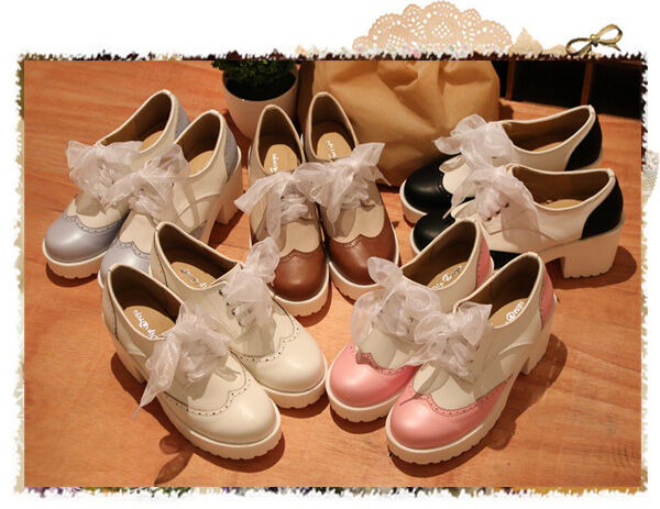 Lolita Gothic Palace Retro Rabbit Ears Bowknot High-heeled Shoes