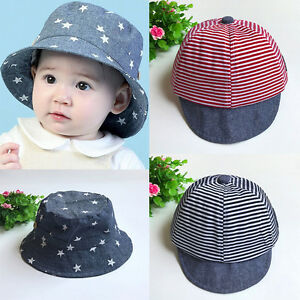 Summer Hats Cute Casual Striped Soft Eaves Sun Hat Cap Baby Boy Girl ... b2dadb581f8