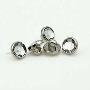 12pcs Silver Side Pearl White Round Shirt Suit Overcoat Shank Buttons Plastic