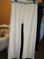 Womens Bcbg Xl Light Tan Athletic Pants With Blue Black Stripe Band Drawstring
