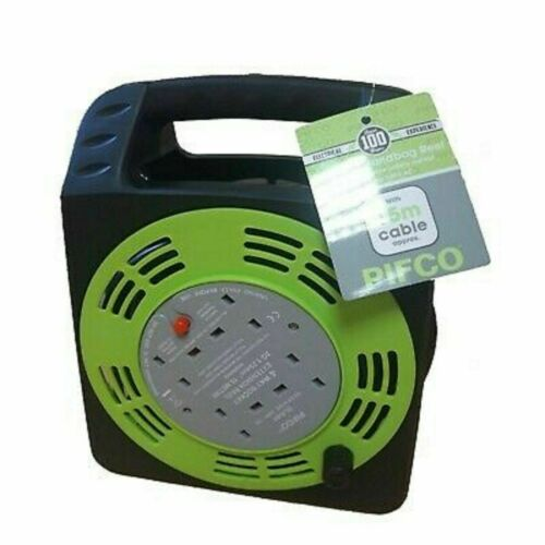 PIFCO 4 Gang Way 13 AMP Electric Extension Cable Reel Mains Plug /& Socket Lead