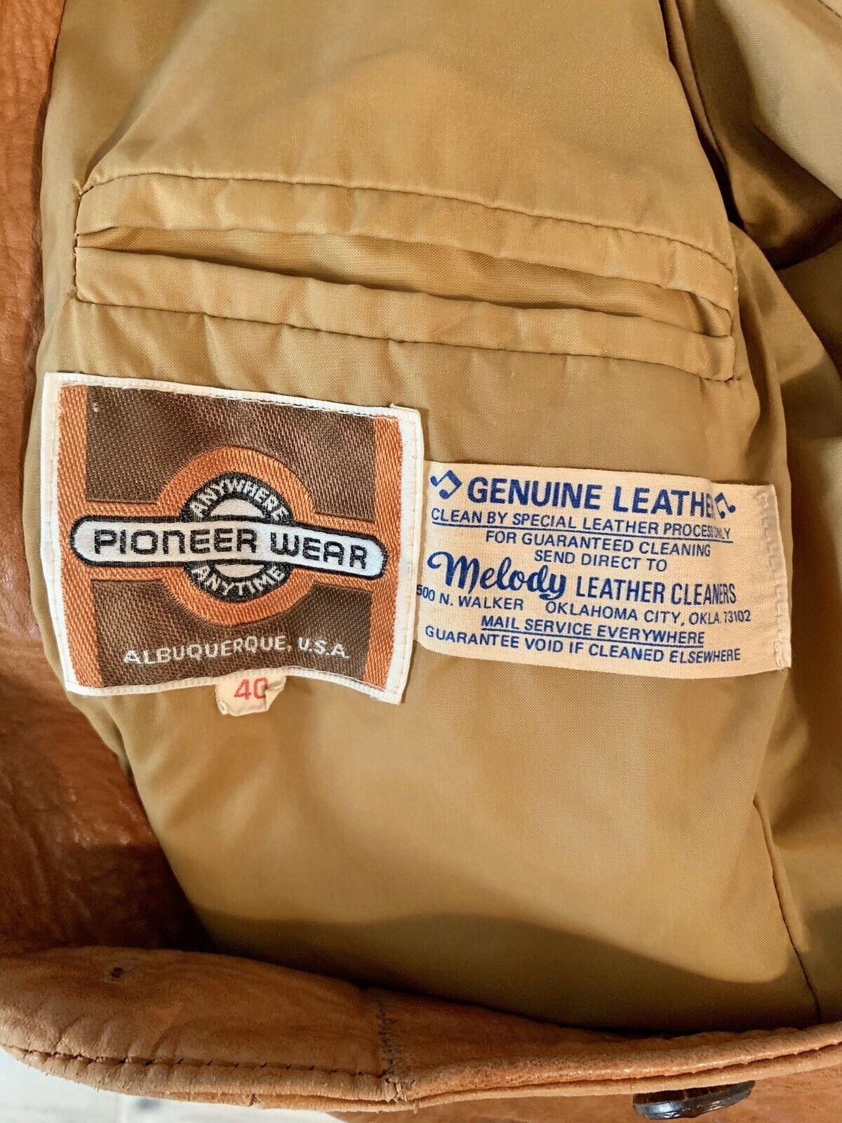 Vintage 1970's Pioneer Wear Tan Brown Leather Bla… - image 6