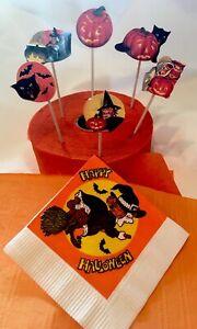 Vintage-Halloween-6-Eureka-Seals-Witch-Caldron-Cat-JOL-Cake-Toppers-Picks