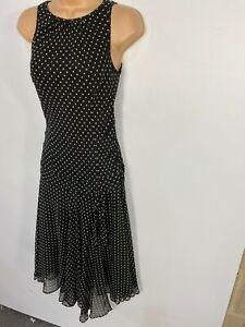 Damen-Hobbs-schwarz-beige-Polka-Dot-aermellos-Seide-Anlass-Abendkleid-UK-8