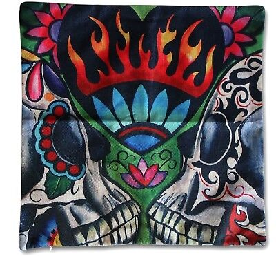 Pillow Cover ~ 45cm x 45cm ~ New ~ MBC Sugar Skull Red Top Hat Outdoor Cushion