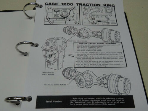 List NEW w//Binder Book Manual Case 1200 Traction King Tractor Parts Catalog