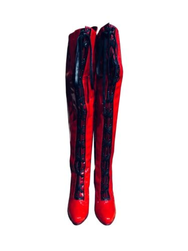 In Cq Patent Stiefel Couture Red 35 Italy Boots Bottes Kinky Made Overknee Rouge waUIxaWqfg