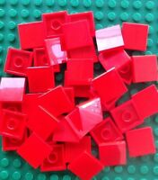 Lego Lot Of 50 2x2 Red Tiles Flat Smooth Finishing Tiles