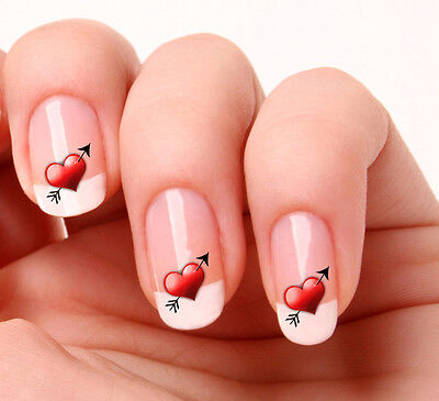 20 Nail Art Decals Transfers Stickers #12 - arrow in heart valentines day