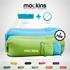 Mockins Inflatable 2 Pack Blue & Green Blow Up Lounger Beach Chair & Travel Bag