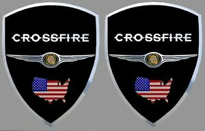 2-adhesifs-stickers-noir-amp-chrome-CHRYSLER-CROSSFIRE-a-coller-sur-ailes-avant
