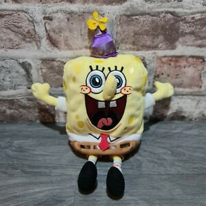 """Spongebob Squarepants Ty Beanie Babies Birthday Edition Collectable Soft Toy 10"""""""