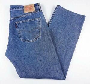 Mens-Jeans-de-Levi-501-Corte-Recto-Strauss-Pestanas-Rojo-Azul-Talla-W28-039-039-L32-039-039-Gratis-P