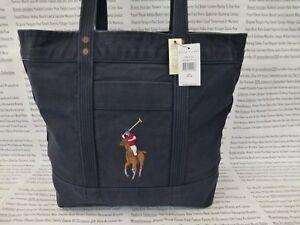 7cdd9b3ecb9c RALPH LAUREN Tote Bag Ladies Large Shoppers Handbag Navy Cotton Bags ...