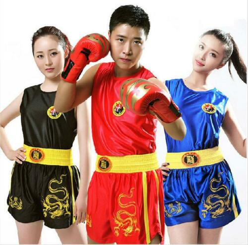 Dragon Boxing Uniforms Kids Yough Adult Muay Thai MMA Shorts Trunks+Tops Clothes