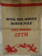 Christmas Large Santa Sack Stocking Vintage Design Jute Hessian Bag Xmas Gift