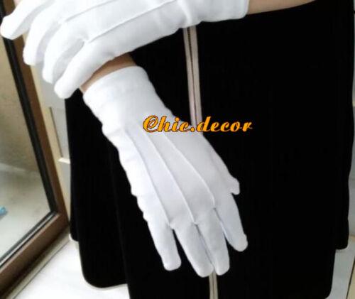 5 Pair White Formal Gloves Tuxedo Guard Parade Santa Mens Inspection Fancy Dress