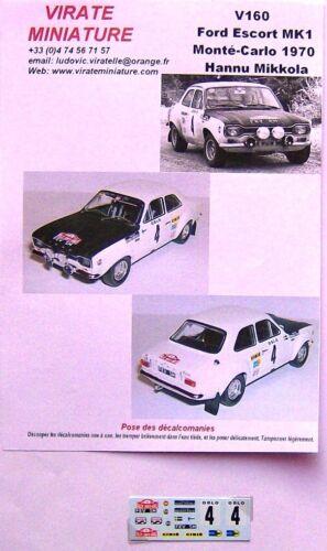 V160 FORD ESCORT MK1 RALLYE MONTE CARLO 1970 HANNU MIKKOLA DECALS VIRATE