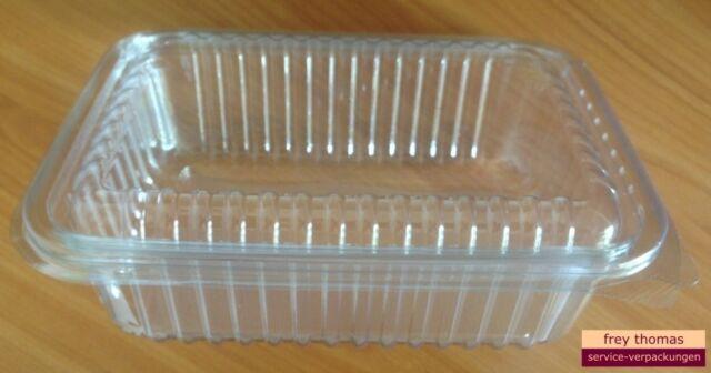 100 PET- Salatschalen mit Klappdeckel 1500ml klar rechteckig 220x160x63mm BE413