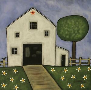 Daisy-Barn-12-x-12-x-3-4-ORIG-CANVAS-PAINTING-Folk-Art-Primitive-Karla-Gerard