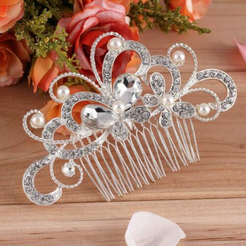 Wedding// Bridal Pearl Hair Pins  Flower Crystal Hair comb Bridesmaid Jewellery