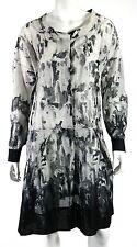 MARNI Black & White Watermark Print Cotton Button Front Tunic Dress 44