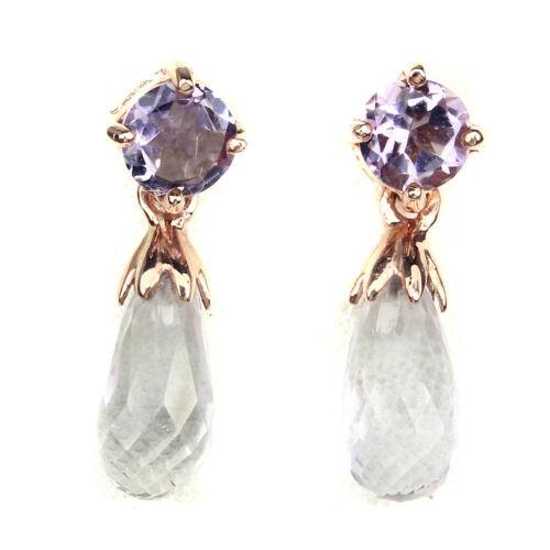 Non chauffé brignolette violet améthyste rose GOLE plaque argent sterling 925 boucles d/'oreilles