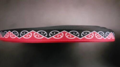 Rot 9mm breite Ripsband Webband Borte 1979 Geschnörkel Schwarz