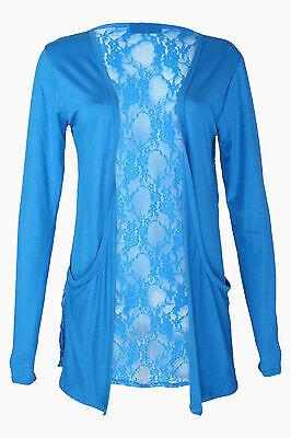 New Ladies Lace Back Open Pocket Cardigan Womens Long Sleeve Boyfriend Size 8-26