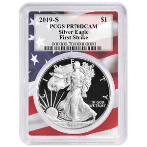 2019-S-Proof-1-American-Silver-Eagle-PCGS-PR70DCAM-FS-Flag-Frame