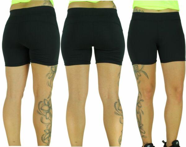Kurze Damen Laufhose Training Short kurze Sport Hose eng anliegend in schwarz