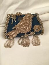 Antique Handkerchief Purse Blue Satin Hand Sewn Beads Bird