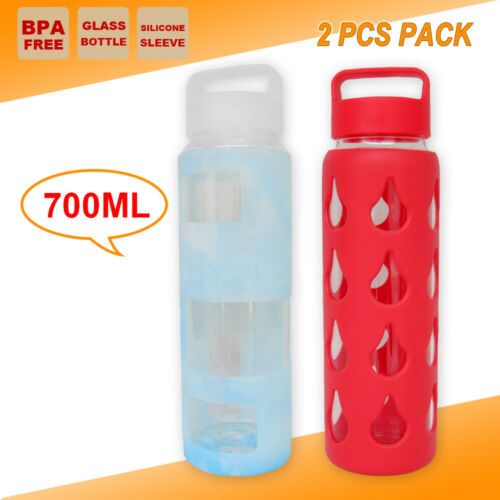 2x 700ml Glass BPA FREE Office Water Bottle Sport Camping Outback Kettle Cup BBQ