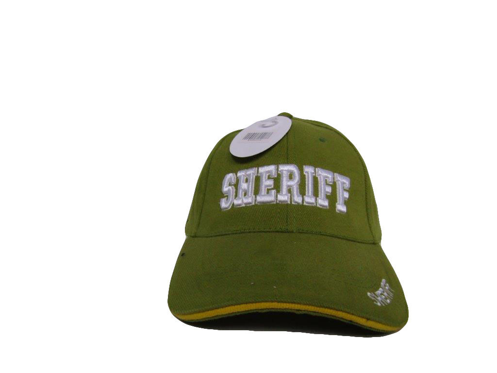 Embroidered Olive Green Sheriff White Letters Military Hat Cap