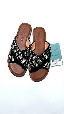 Toms Viv sandals black geometric woven