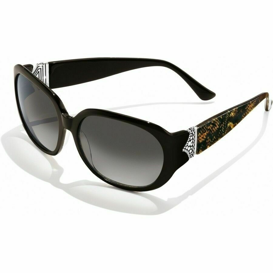 NWT Brighton GYPSY WOMAN Chocolate Brown Python Silver Sunglasses MSRP