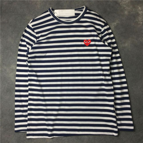 ❉STRIPED MEN/'S WOMEN COMME DES GARCONS CDG PLAY RED HEART LONG SLEEVE T-SHIRT