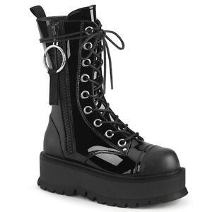 "Demonia SLACKER-220 Black Patent- 2"" Platform Lace-Up Mid-Calf Boot"