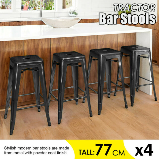 Incredible Set Of 4 Metal Bar Stools Counter Industrial Farmhouse Stackable Chairs 30 Caraccident5 Cool Chair Designs And Ideas Caraccident5Info