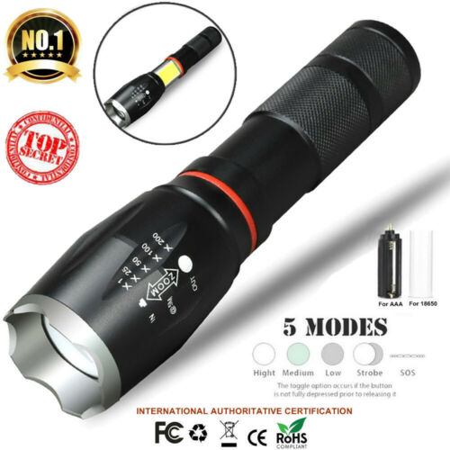 18650 Battery+Charger 2x 6000Lm LED Rechargeable AAA 5 Mode Tactical Flashlight