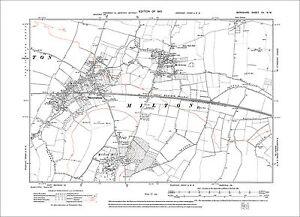 OLD ORDNANCE SURVEY MAP GRAVESEND 1865 WEST COURT WINDMILL HILL EAST MILTON