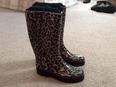 Atmósfera Precioso Estampado De Leopardo Wellington Botas Talla 3