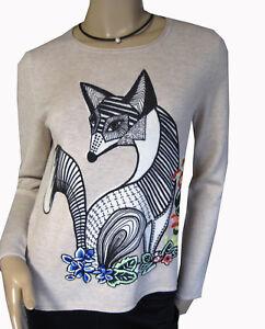NEU-MARCCAIN-Pullover-N1-34-36-Pulli-Fuchs-Motiv-hellbraun-Damenpullover