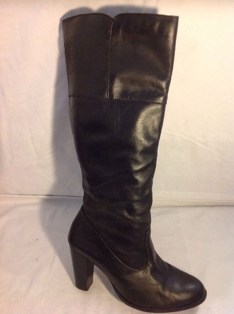 Pink Black Knee High Leather Boots Size 38