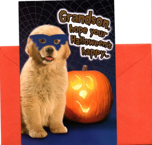 Happy Halloween Yellow Lab Puppy In Mask Jack O Lantern Greeting Card New For Sale Online