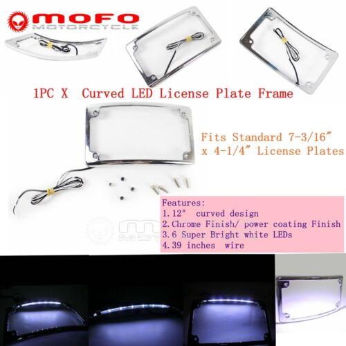"""Chrome Finish 12°Curved 6 White LED Light 7-3//16/"""" x 4-1//4/"""" License Plate Frame"""