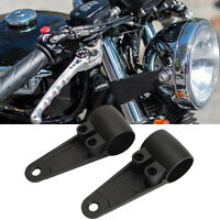 35mm-41mm Black Fork Headlight Mount Bracket For Suzuki Harley Cafe Racer Bobber