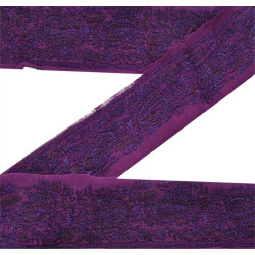 Sanskriti Vintage Sari Border Hand Embroidered  Craft Trim Ribbon Purple Lace