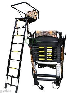 Demo 2 5m Telescopic High Tree Ladder High Seat Folding