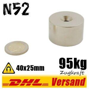 neodym magnet scheibe starker dauermagnet d40x25mm 40x25mm n52 95kg mit loch ebay. Black Bedroom Furniture Sets. Home Design Ideas